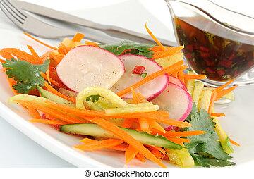 rzodkiewka, ogórek, marchew, sałata
