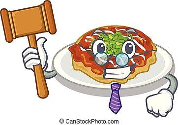 sędzia, płyta, obsłużony, rysunek, okonomiyaki