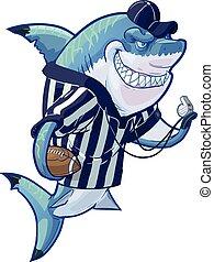 sędzia, piłka nożna, podły, rysunek, rekin