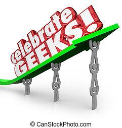 słówko, ludzie, geeks, podnoszenie, strzała, nerds, świętować