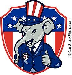 słoń, do góry, usa, republikanin, maskotka, kciuki, bandera, rysunek