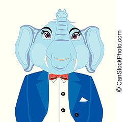 słoń, garnitur