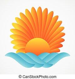 słońce, abstrakcyjny, morze