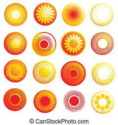 słońce, abstrakcyjny, połyskujący, ikony