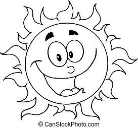 słońce, konturowany, szczęśliwy