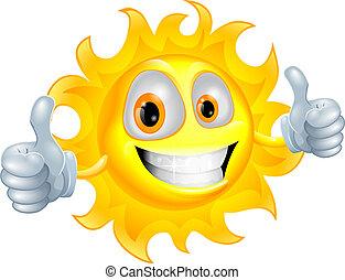 słońce, litera, rysunek, człowiek