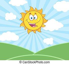 słońce, na, światło słoneczne, krajobraz, szczęśliwy