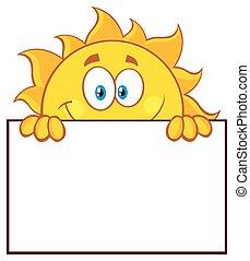słońce, na, czysty, deska, znak