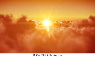 słońce, na, przelotny, chmury