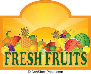 słońce, owoce, ilustracja, stać, signage, świeży