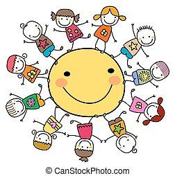 słońce, szczęśliwy, dzieciaki, dookoła, interpretacja
