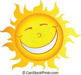 słońce, uśmiechanie się, litera, rysunek, szczęśliwy