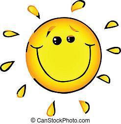 słońce, uśmiechanie się, litera, rysunek