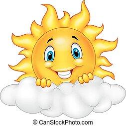 słońce, uśmiechanie się, maskotka, rysunek, characte