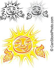 słońce, uśmiechanie się, symbol