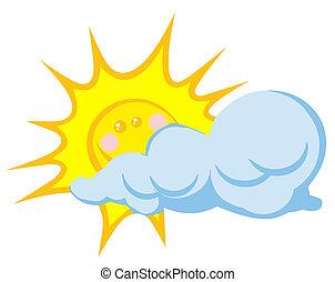 słońce, uśmiechanie się, za, chmura