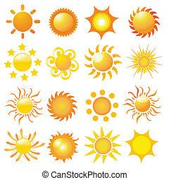 słońce, wektor, komplet
