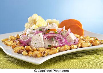 słodki, fish, surowy, upieczony, cebule, poza, (peruvian, mahi-mahi, aji, gorący, (spanish:, czerwony, nagniotek, ceviche, (cancha), perico), pepper), robiony, peruvian-style, dobrze, gotów, łabędź, pota, obsłużony