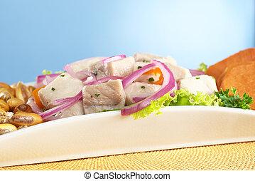 słodki, ognisko, surowy, upieczony, cebule, poza, (peruvian, ognisko, aji, gorący, dogfish, (selective, (spanish:, tollo), czerwony, nagniotek, ceviche, (cancha), przód, pepper), robiony, peruvian-style, kartofel, obsłużony