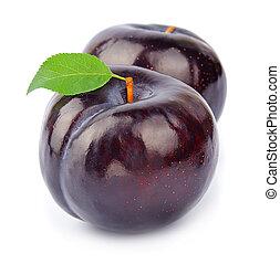 słodki, owoc, śliwki