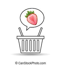 słodki, truskawka, projektować, kosz, targ, ikona