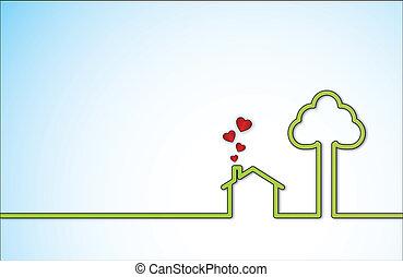 słodkie serce, miłość, zielony czerwony, dom
