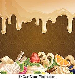 słodycze, karmel, tło