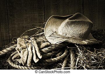 słoma, bal siana, rękawiczki, kapelusz