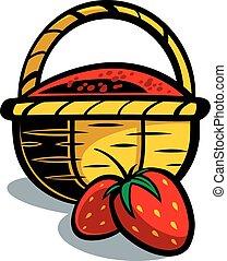 słomiany kosz, truskawka