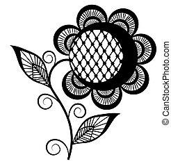 słonecznik, abstrakcyjny, odizolowany, czarnoskóry, white., tło, biały, logo