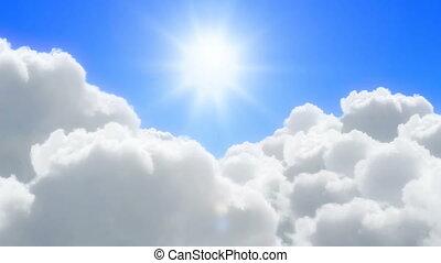 słoneczny, chmury, na, lot