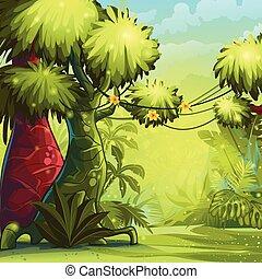 słoneczny, dżungla, ilustracja, rano