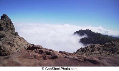 słoneczny, fale, chmury, skala, skała, góra, day., timelapse, video., jasny