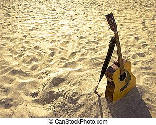 słoneczny, gitara, akustyczny, plaża
