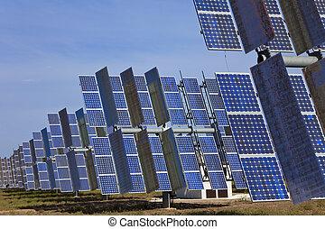 słoneczny, photovoltaic, zielone pole, poduszeczki, energia