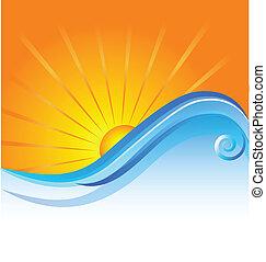słoneczny, plaża, szablon, logo