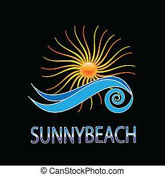 słoneczny, projektować, wektor, plaża, logo