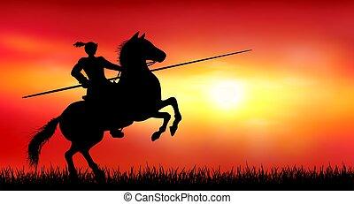 słoneczny, rycerz, zachód słońca, tło, koń