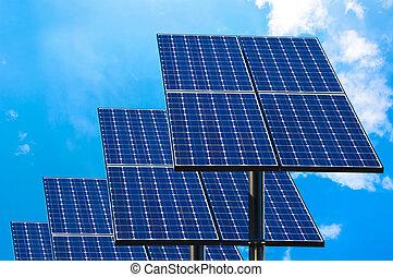 słoneczny, zielony, technologia, panels.