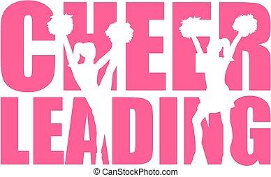 słowo, cheerleading, cutout