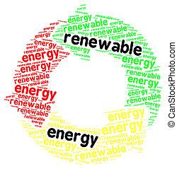 słowo, energia, odizolowany, odnawialny, biały zasępiają się