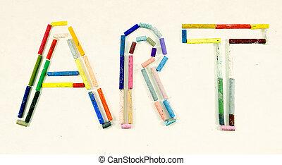 słowo, nafta, sztuka, robiony, pastele