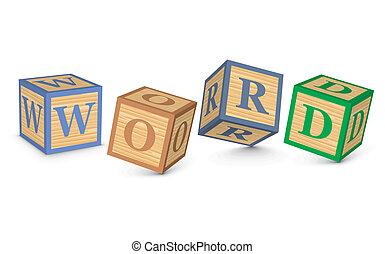 słowo, pisemny, kloce