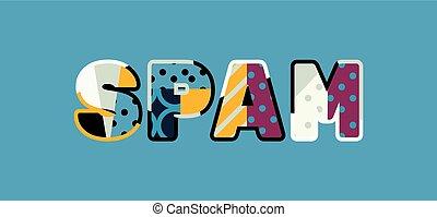 słowo, pojęcie, sztuka, ilustracja, spam