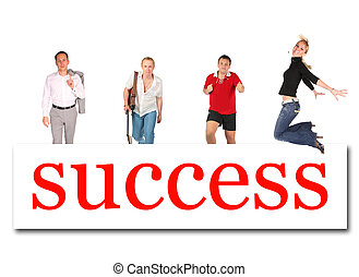słowo, powodzenie, ludzie, collage, ruchomy, deska
