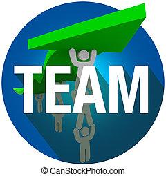 słowo, pracujące ludzie, drużyna, długi, dźwig, razem, strzała, znak, cień, koło