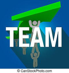 słowo, pracujące ludzie, razem, dźwig, długi, strzała, drużyna, cień