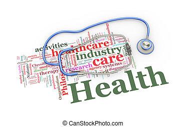 słowo, skuwki, na, ilustracja, stetoskop, healthcare, 3d