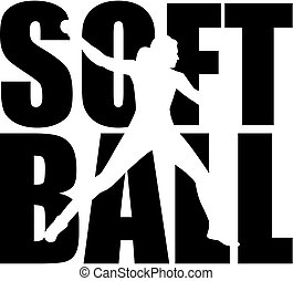 słowo, sylwetka, softball, cutout