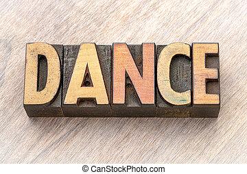 słowo, taniec, abstrakcyjny, -, drewno, typ